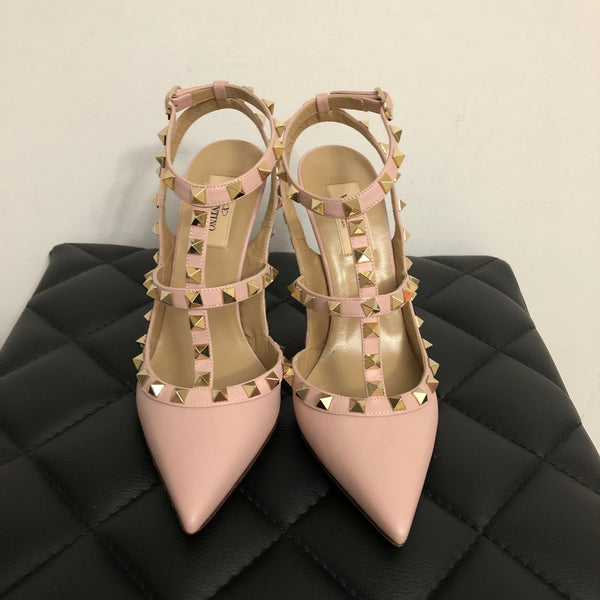Valentino Pink Smooth Leather Rockstud Pumps Size 37.5