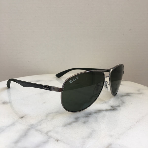 Ray Ban Gunmetal/Grey/Green Polarized Carbon Fibre Pilot Sunglasses