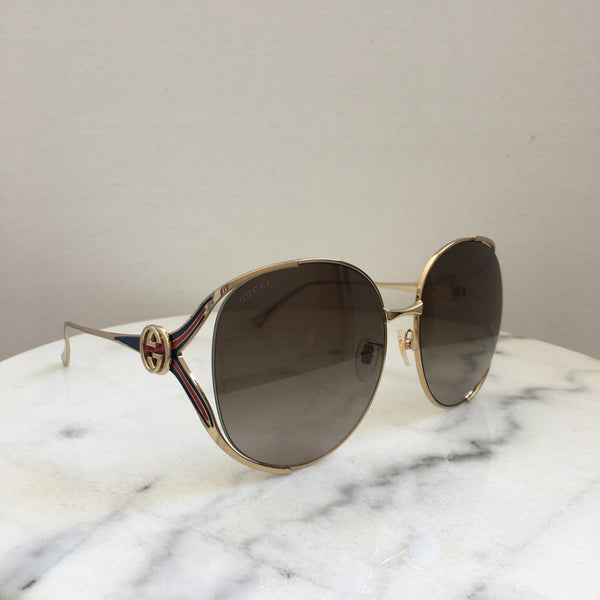 Gucci Gold/Blue/Red Round Oversized Sunglasses