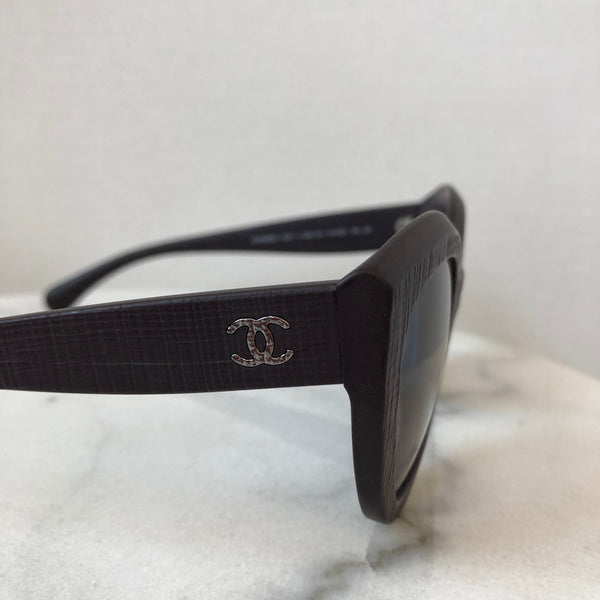 Chanel Matte Burgundy Cat Eye Sunglasses