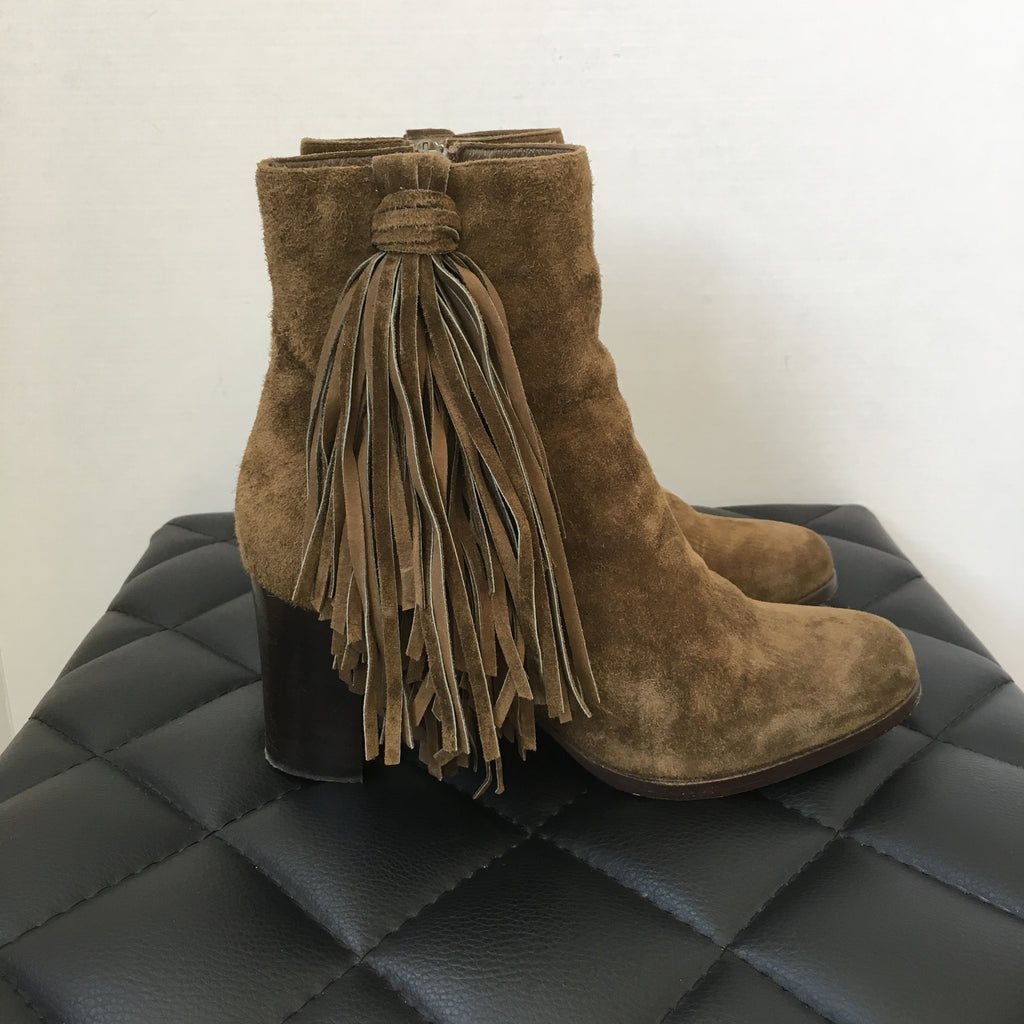 check out 4bc8e 87522 Christian Louboutin Bronze Jimmynetta 70 Suede Fringe Booties Size 35