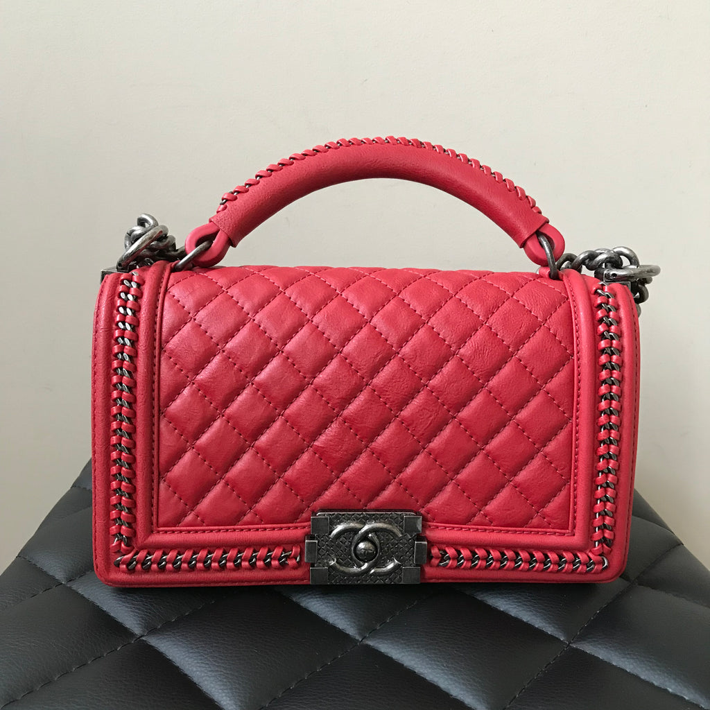 b6a3b30a83f7 Chanel Red Calfskin Top Handle Old Medium Boy Flap Bag