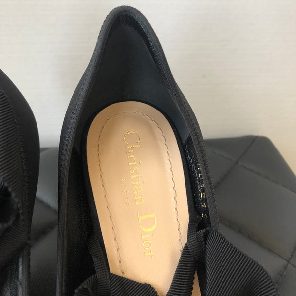 Dior Black Etoile Lucite Lace up Wedge Pumps Size 37