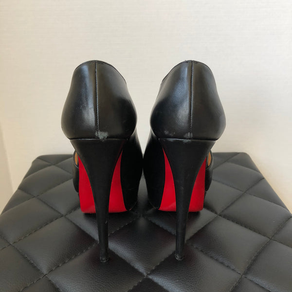 Christian Louboutin Black Verita Cutout Peep Toe Pumps Size 36