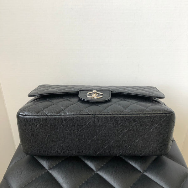 Chanel Black Caviar Jumbo Double Flap Bag Silver Hardware
