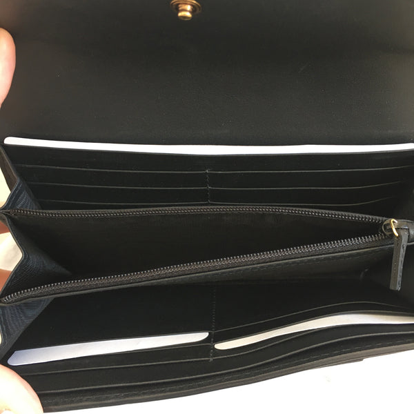 Gucci Black/Gold Monogram Wallet