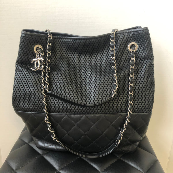 CHANEL Black Calfskin Perforated Up In The Air North South Tote