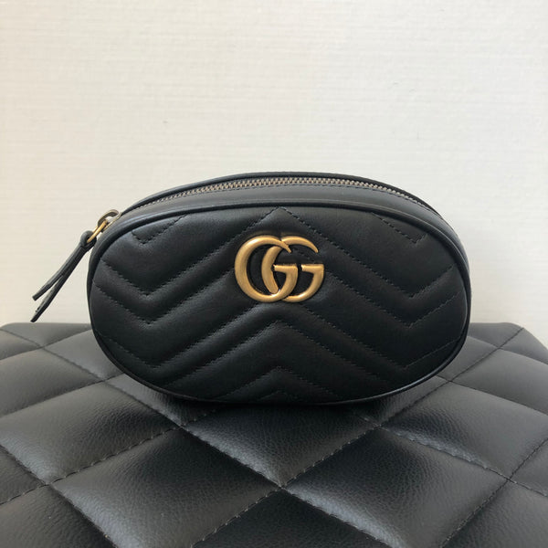 Gucci Black GG Marmont matelassé leather belt bag