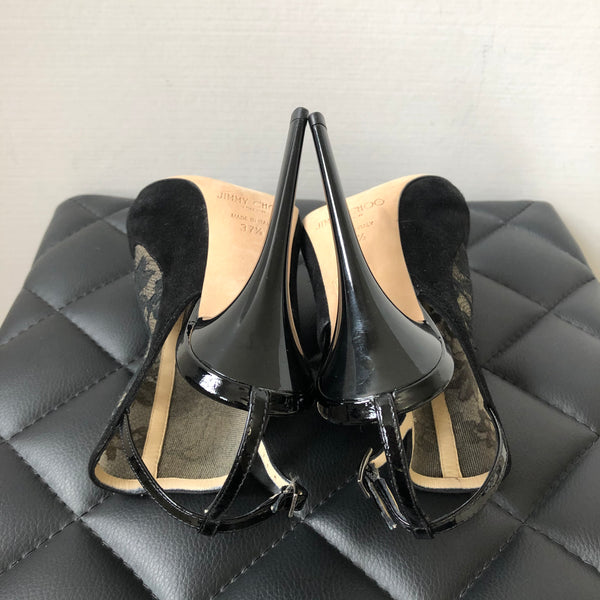 Jimmy Choo Black Lace Maylen Peep Toe Ankle Strap Sandals Size 37.5