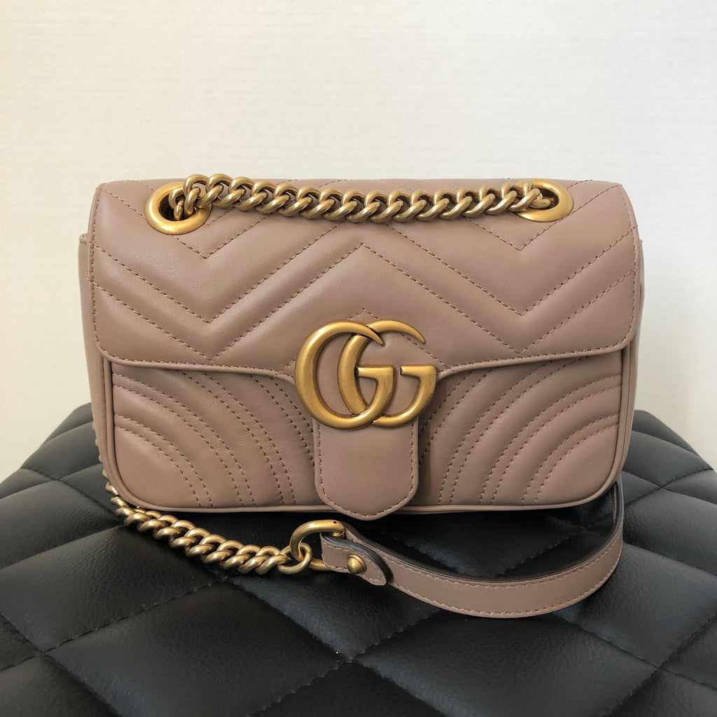4a24ac402b74 Gucci Marmont Mini GG Dusty Pink Crossbody Bag | Forever Red Soles