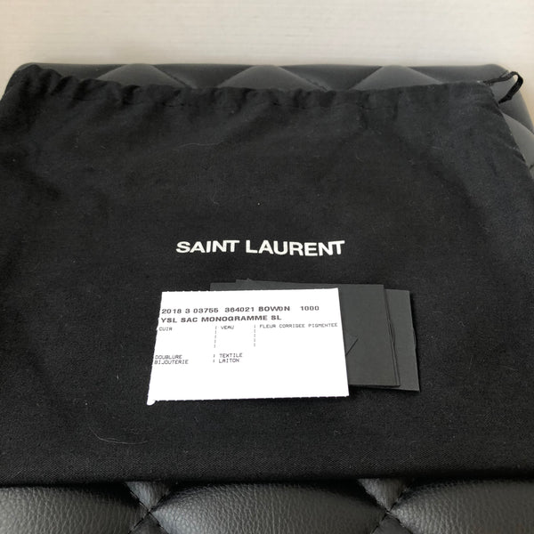 Saint Laurent Black Grained Medium Kate Bag with Silver Hardware