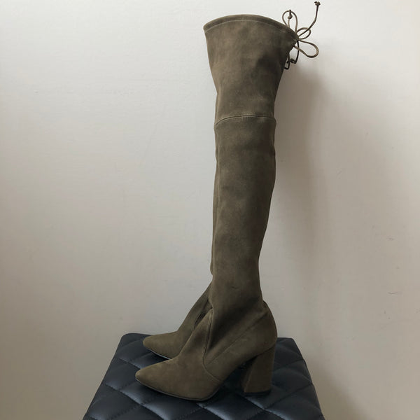 Stuart Weitzman Olive Green Suede High Street Over the Knee Boots Size 5.5
