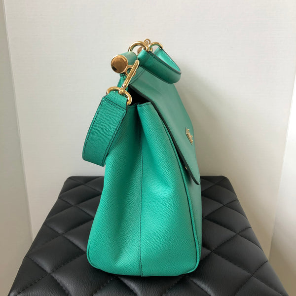 DOLCE & GABBANA Turquoise Large Sicily Top Handle Shoulder Bag