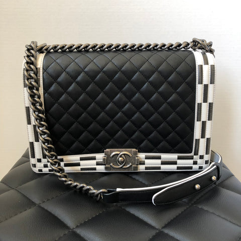 Chanel Black/White Check Calfskin New Medium Boy Bag