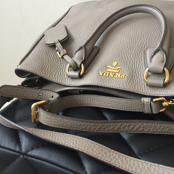 ded18c69dc6176 Prada Grey Pebbled Crossbody/Shoulder Bag | Forever Red Soles