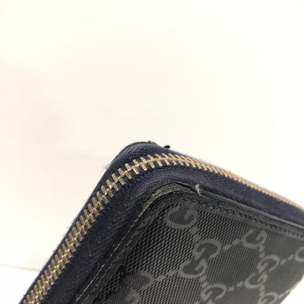 Gucci Metallic Blue Zip Around Wallet