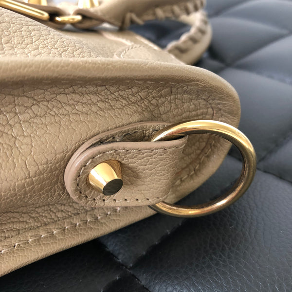 BALENCIAGA Beige Latte Chevre Metallic Edge Gold S City Crossbody Bag