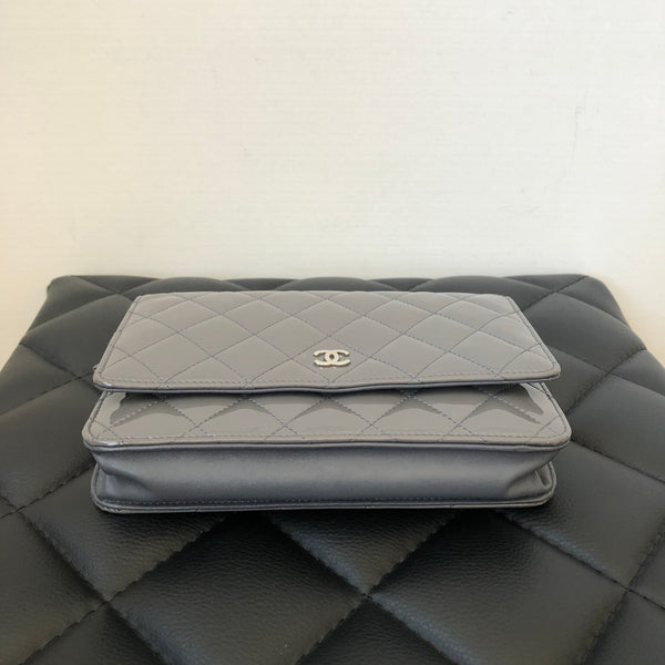 Chanel Grey Patent Wallet on Chain (WOC)