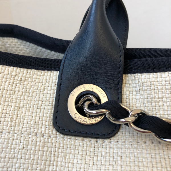 Chanel White/Navy Woven Straw Raffia Deauville Large Tote