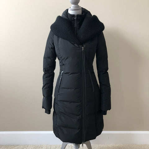 Mackage Black Brigid Knit Collar Down Jacket Size XS