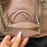 Gucci Dusty Pink Leather Soho Medium Shoulder Bag