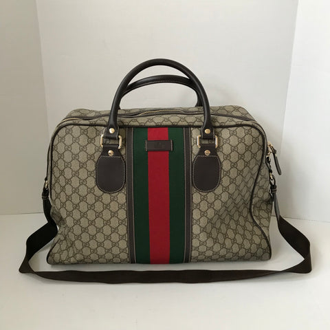 Gucci Monogram Coated Canvas Duffle Bag