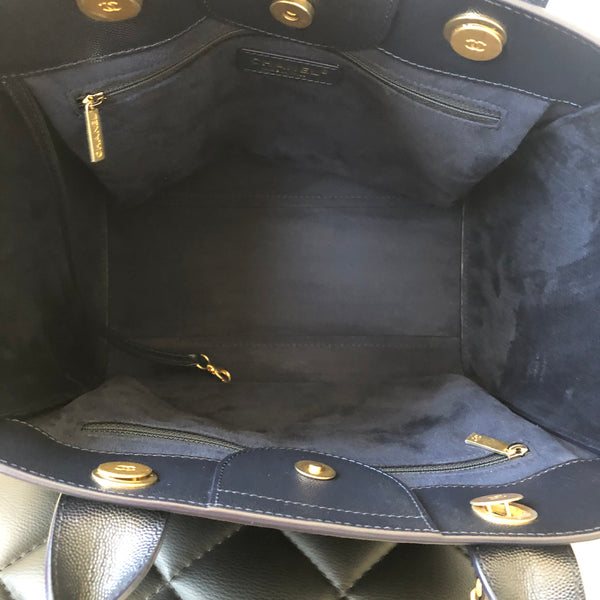 CHANEL Navy Blue Caviar Small Studded Deauville Tote