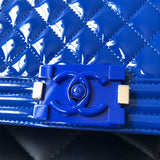 CHANEL Blue Patent Leather Plexiglass Old Medium Boy Flap Bag
