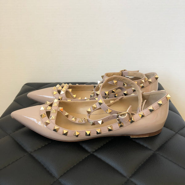 Valentino Patent Poudre/Nude Cage Rockstud Ballet Flats Size 37.5