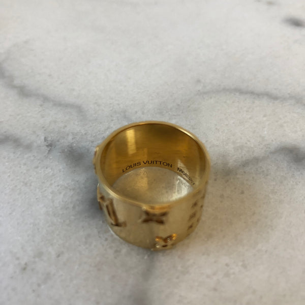 Louis Vuitton Gold Tone Monogram Wide Ring