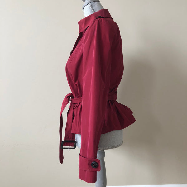 Burberry London Cranberry Red Belted Peplum Jacket Size US 6 (fits US 4)