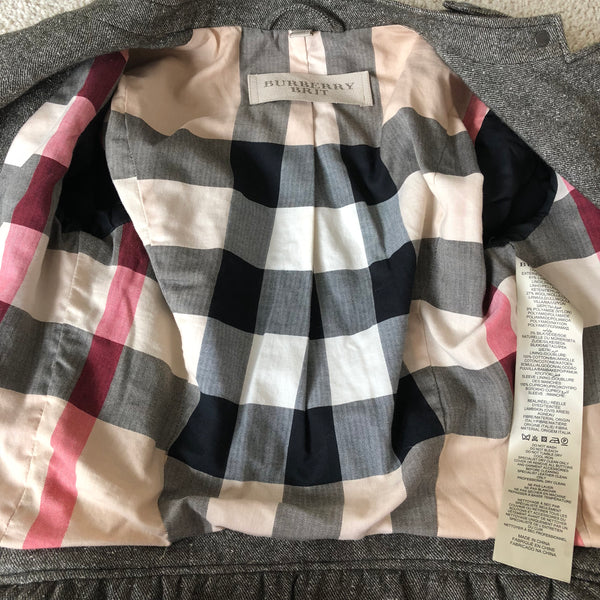 Burberry Brit Leather Sleeve Jacket Size US 6 (fits true US 2-4)