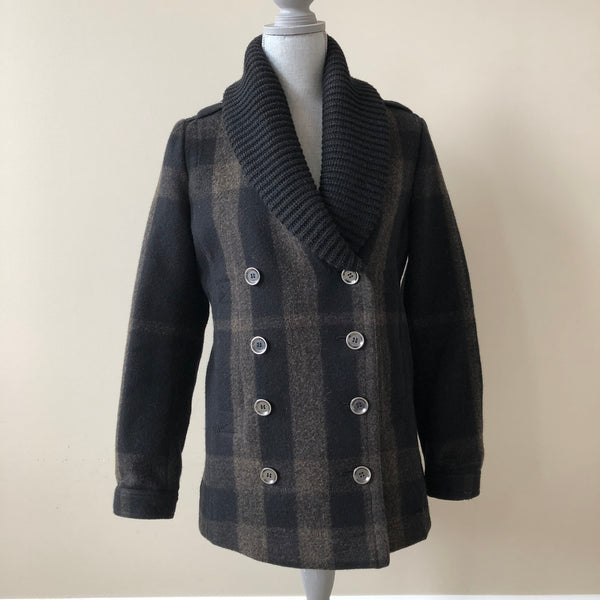 Burberry Black Check Wool Jacket Size US 4 (fits US 4-6)