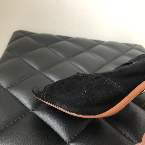 Aquazzura Sexy Thing Black Suede Open Toe Booties Size 37