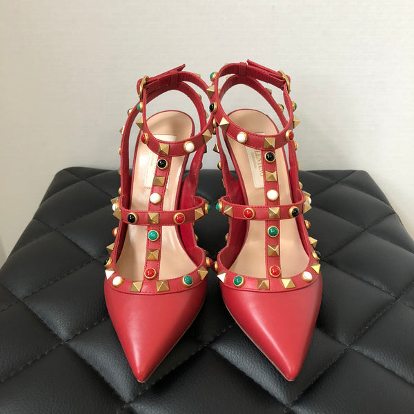 Valentino Limited Edition Ruby Red Rockstud Pumps Size 35
