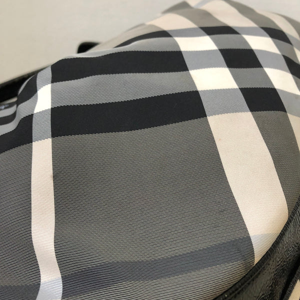 Burberry Black/Ivory/Grey Nylon/Patent Check Shoulder Bag