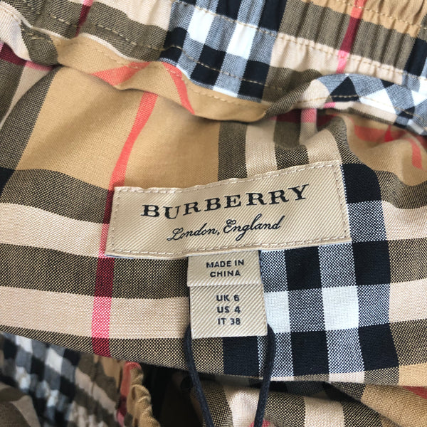 Burberry Whynham Antique Yellow Check Wide-Leg Pants Size US 4