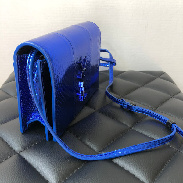 Saint Laurent Metallic Blue Python Toy/Mini Kate Crossbody Wallet Bag/Clutch