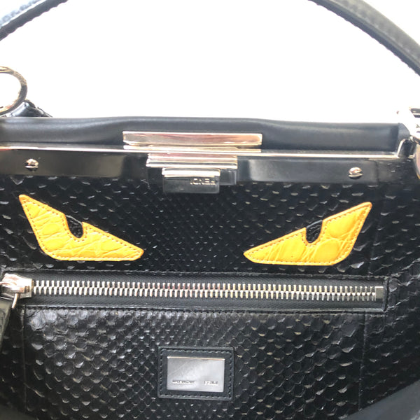 Fendi Black Large Peekaboo Bug Shoulder Bag