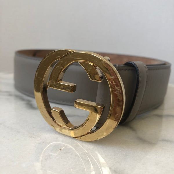 Gucci Grey/Gold GG Belt Size 80/32