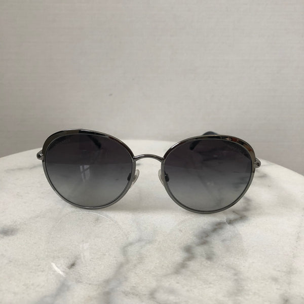 Chanel Silver/Grey Round Sunglasses