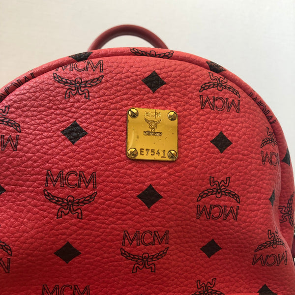 MCM Coral Studded Backpack