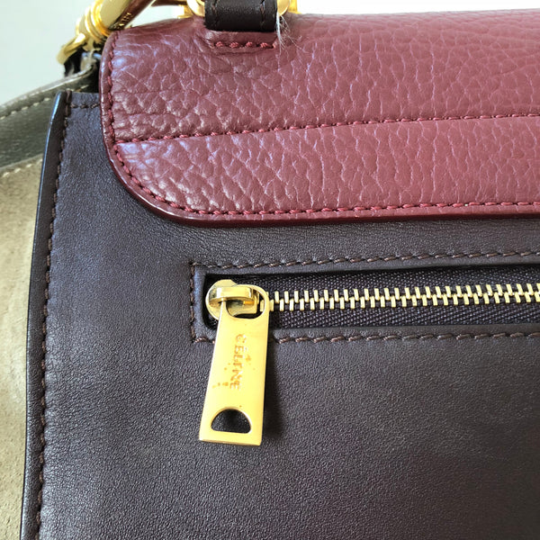 Celine Calfskin and Suede Multicolor Medium Trapeze Luggage in burgundy/plum and beige