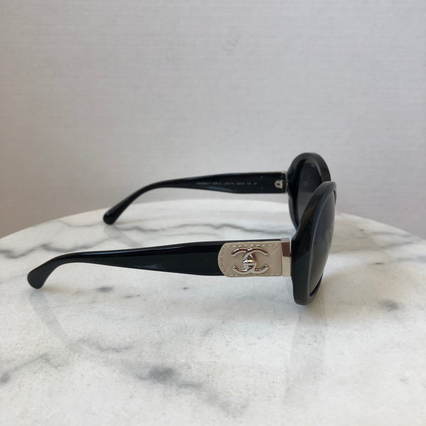 Chanel Black / Beige Leather CC Sunglasses