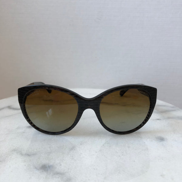 Chanel Polarized Brown Glitter Velvet Sunglasses