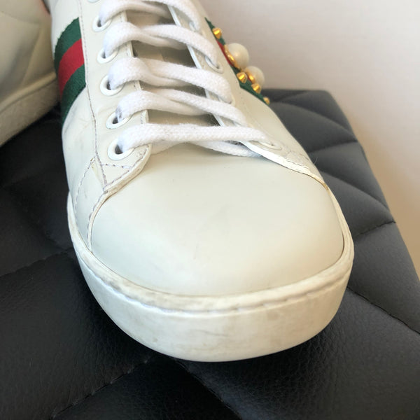 Gucci Women's Ace studded leather sneaker Size 38.5