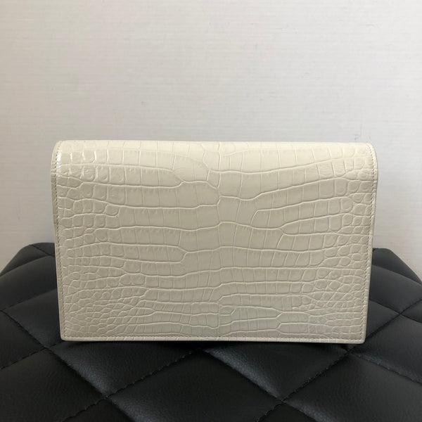 Saint Laurent Kate Chain Wallet (WOC) with Tassel in Shiny Croc-Embossed Leather in Blanc Vintage (Ivory)