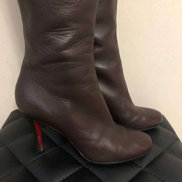 Christian Louboutin Dark Brown Knee High Boots Size 38.5