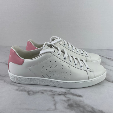 GUCCI White & Pink Interlocking G Ace Sneakers Size 37.5