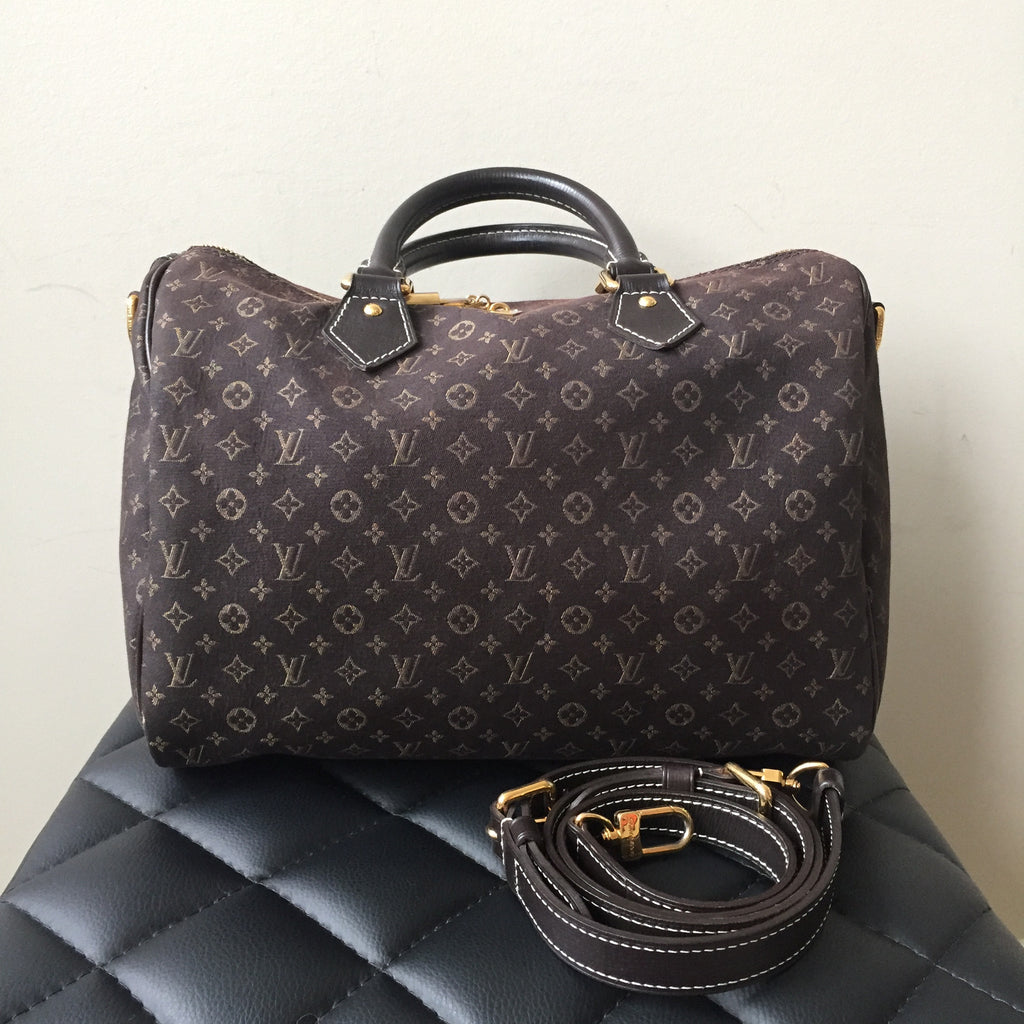 Louis Vuitton Dark Brown Mini Lin Canvas Monogram Speedy Bandouliere ... d72779d8be6ca